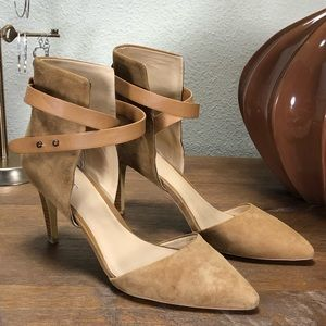 Joe's Tan Suede Ankle Strap Stiletto Heels